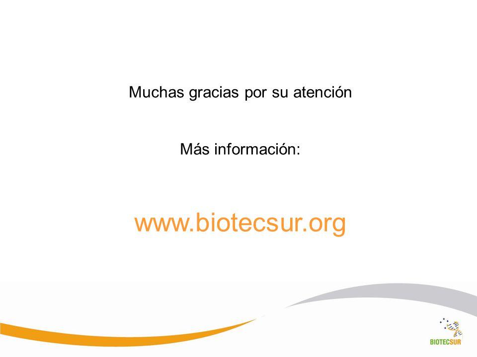 Muchas gracias por su atención Más información: www.biotecsur.org
