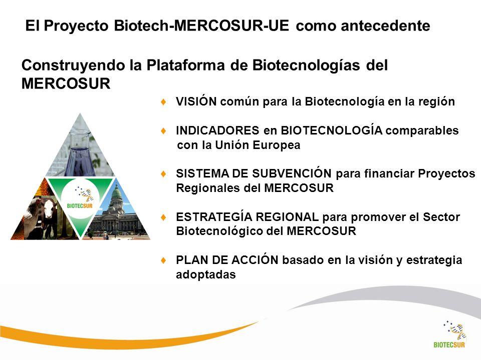 El Proyecto Biotech-MERCOSUR-UE como antecedente VISIÓN común para la Biotecnología en la región INDICADORES en BIOTECNOLOGÍA comparables con la Unión