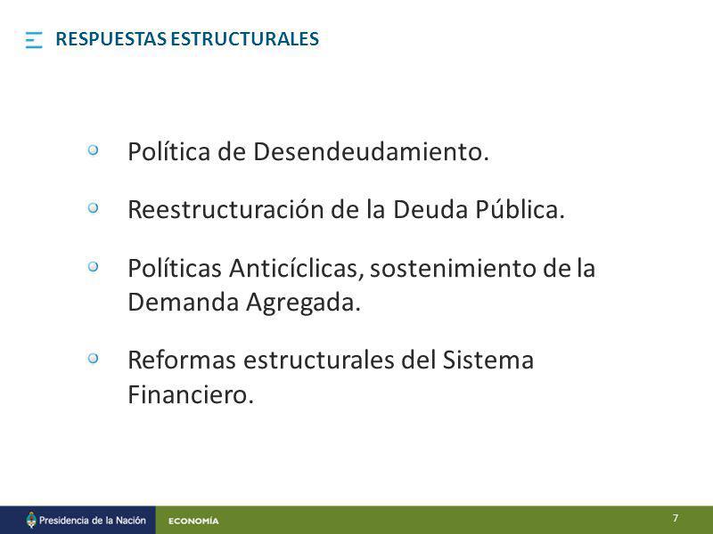 Política de Desendeudamiento. Reestructuración de la Deuda Pública.