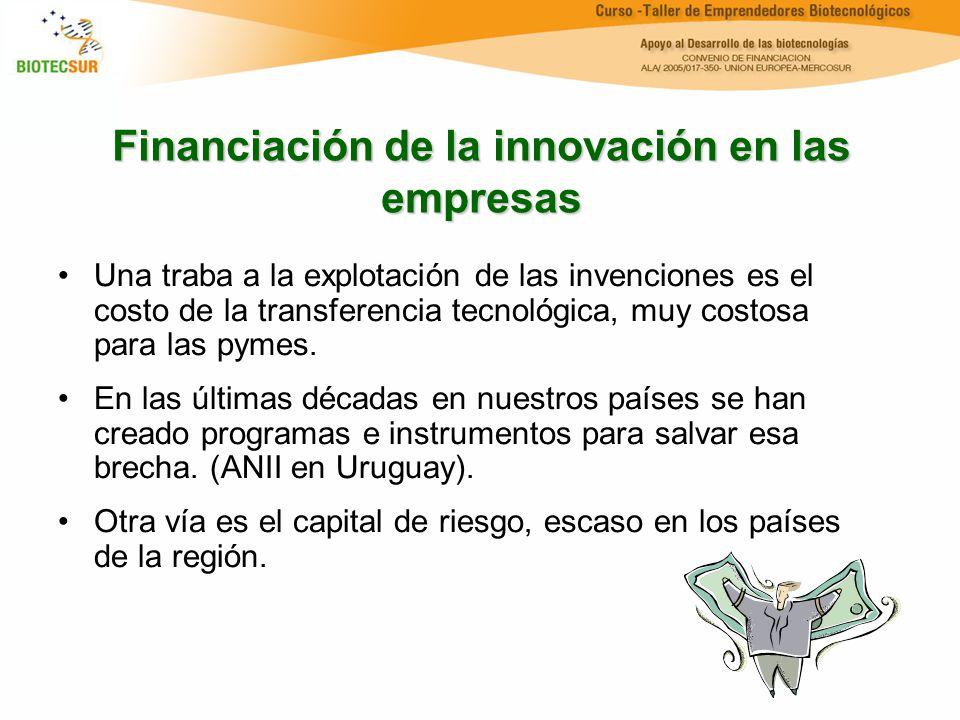 Financiación de la innovación en las empresas Una traba a la explotación de las invenciones es el costo de la transferencia tecnológica, muy costosa p
