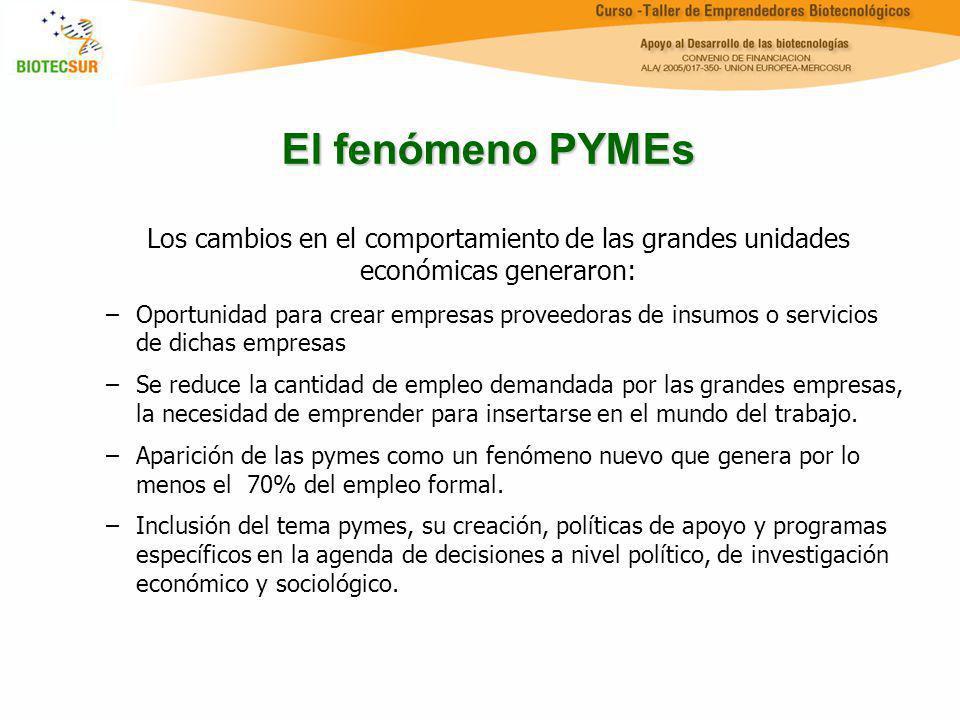 El fenómeno PYMEs Los cambios en el comportamiento de las grandes unidades económicas generaron: –Oportunidad para crear empresas proveedoras de insum