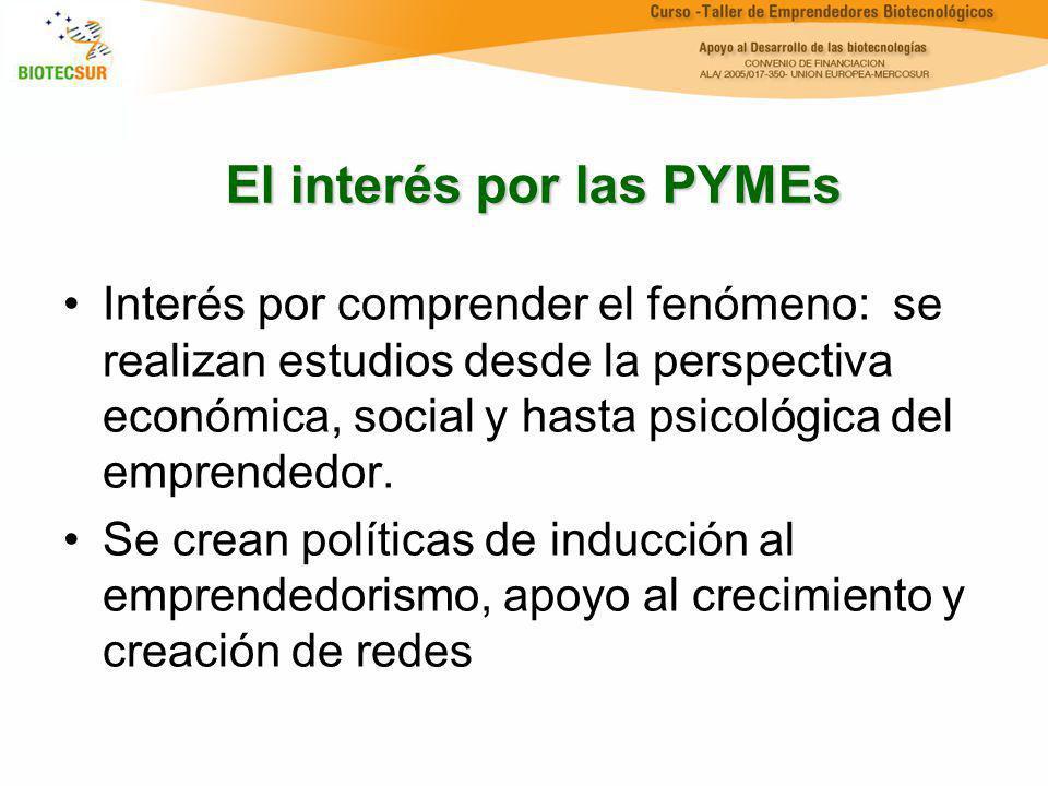El interés por las PYMEs Interés por comprender el fenómeno: se realizan estudios desde la perspectiva económica, social y hasta psicológica del empre