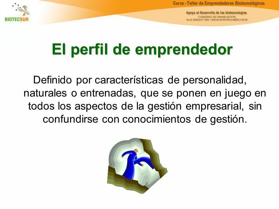 El perfil de emprendedor Definido por características de personalidad, naturales o entrenadas, que se ponen en juego en todos los aspectos de la gesti