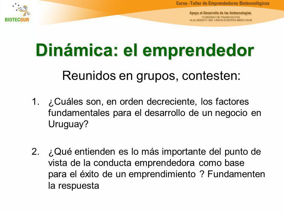 Dinámica: el emprendedor Reunidos en grupos, contesten: 1.¿Cuáles son, en orden decreciente, los factores fundamentales para el desarrollo de un negoc
