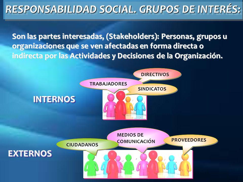 RESPONSABILIDAD SOCIAL.GRUPOS DE INTERÉS: RESPONSABILIDAD SOCIAL. GRUPOS DE INTERÉS: DIRECTIVOS TRABAJADORES SINDICATOS MEDIOS DE COMUNICACIÓN PROVEED
