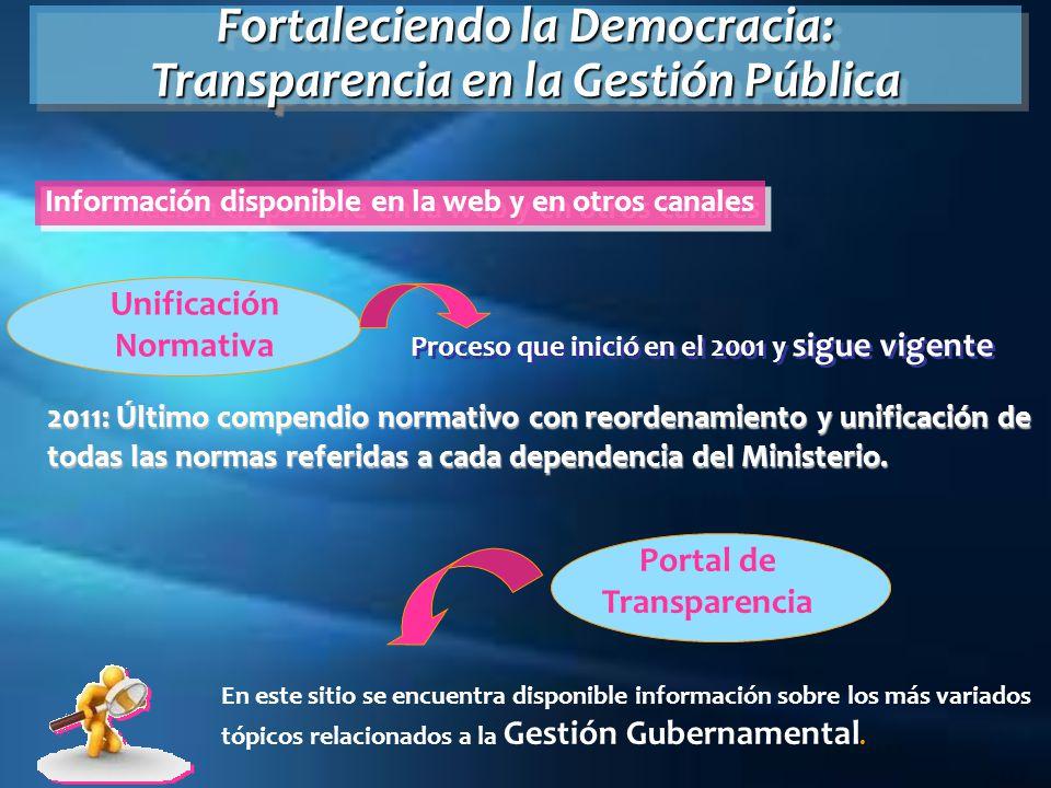 Unificación Normativa Proceso que inició en el 2001 y sigue vigente 2011: Último compendio normativo con reordenamiento y unificación de todas las nor