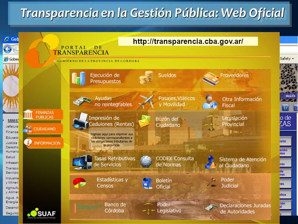 www.cba.gov.ar Transparencia en la Gestión Pública: Web Oficial http://transparencia.cba.gov.ar/