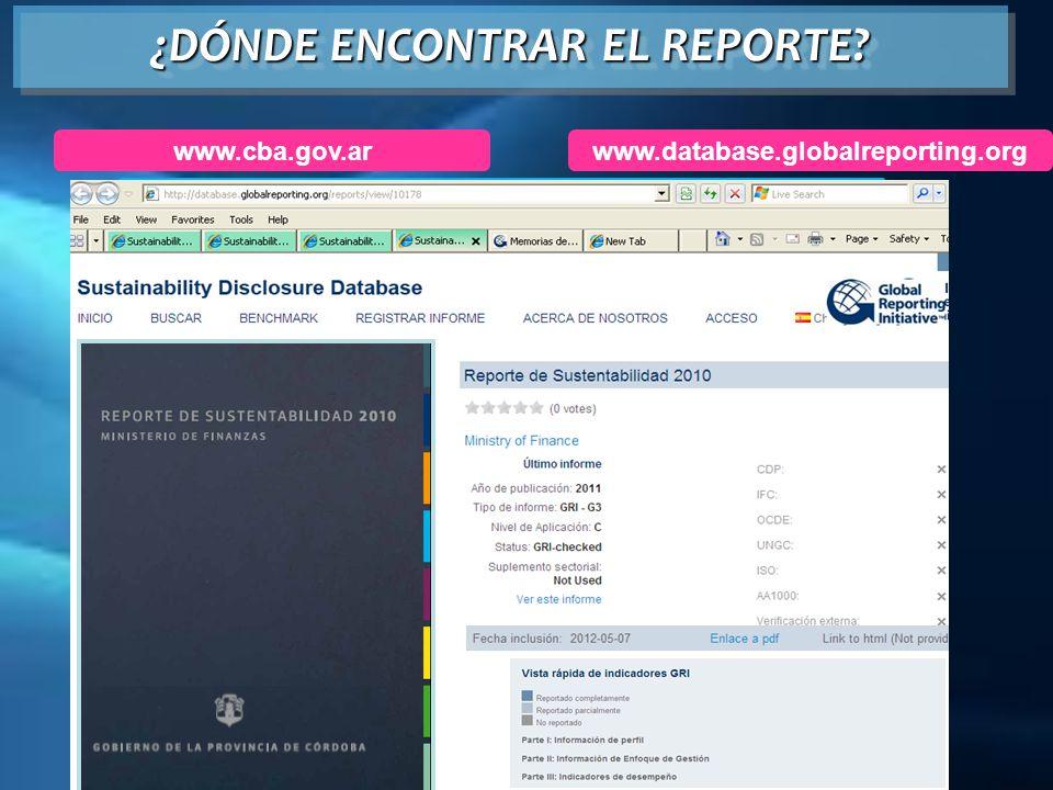 www.database.globalreporting.org ¿DÓNDE ENCONTRAR EL REPORTE? www.cba.gov.ar