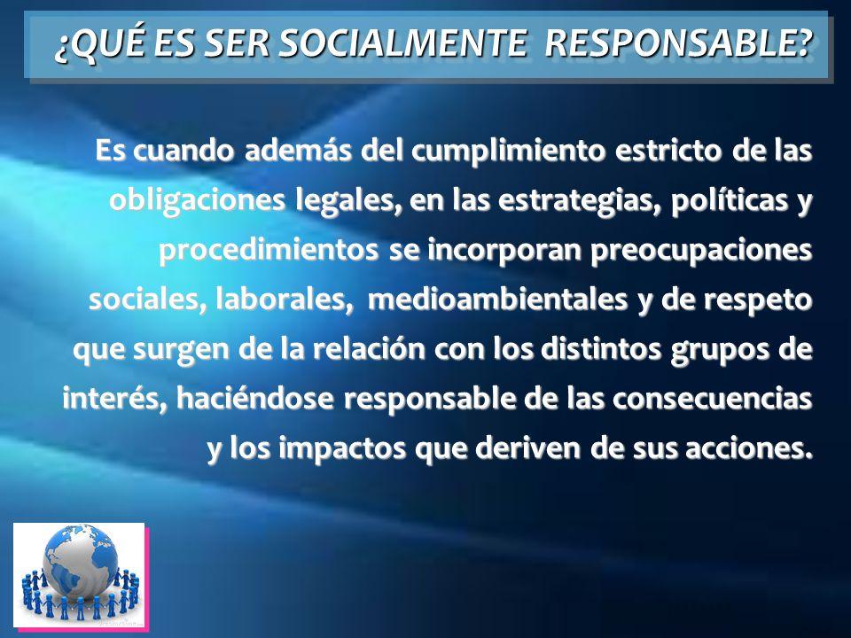 ¿QUÉ ES SER SOCIALMENTE RESPONSABLE? Es cuando además del cumplimiento estricto de las obligaciones legales, en las estrategias, políticas y procedimi