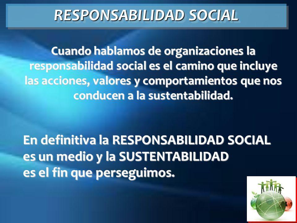 RESPONSABILIDAD SOCIAL Cuando hablamos de organizaciones la responsabilidad social es el camino que incluye las acciones, valores y comportamientos qu