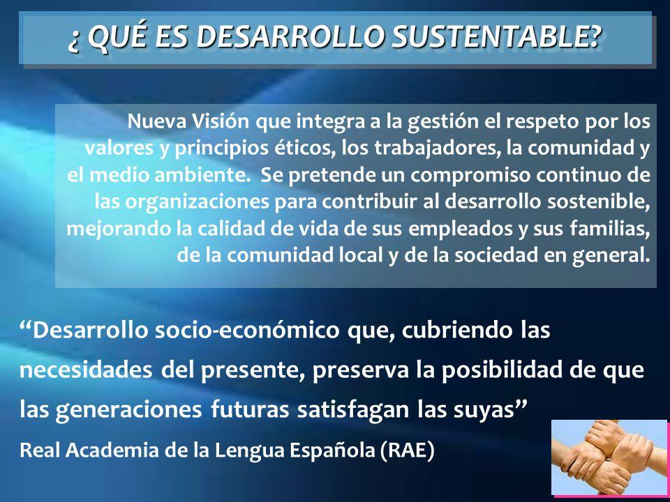 Desarrollo socio-económico que, cubriendo las necesidades del presente, preserva la posibilidad de que las generaciones futuras satisfagan las suyas R
