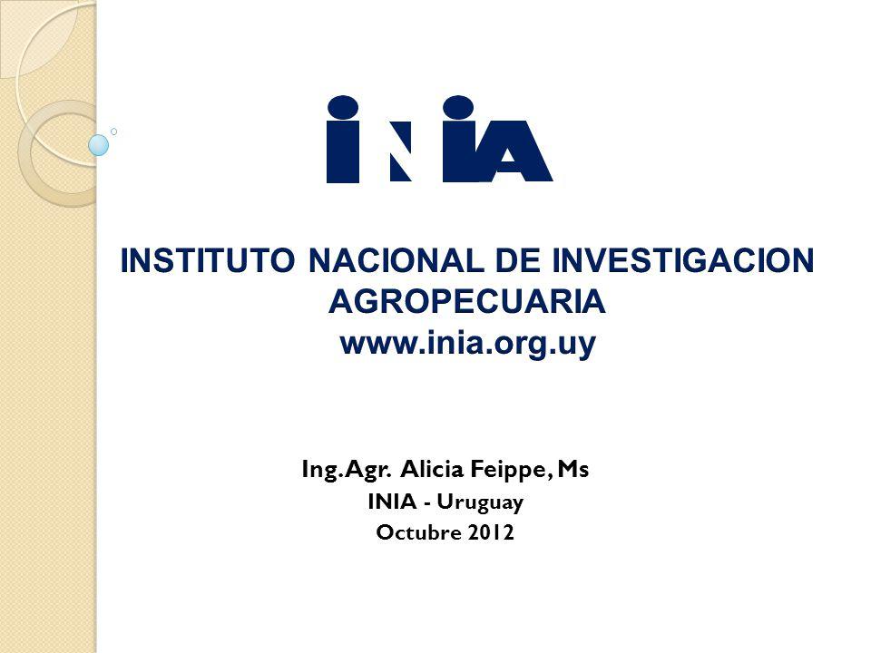 Ing. Agr. Alicia Feippe, Ms INIA - Uruguay Octubre 2012