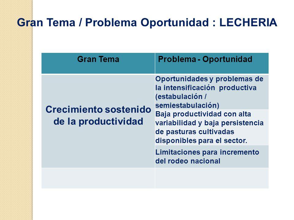Gran TemaProblema - Oportunidad Crecimiento sostenido de la productividad Oportunidades y problemas de la intensificación productiva (estabulación / semiestabulación) Baja productividad con alta variabilidad y baja persistencia de pasturas cultivadas disponibles para el sector.