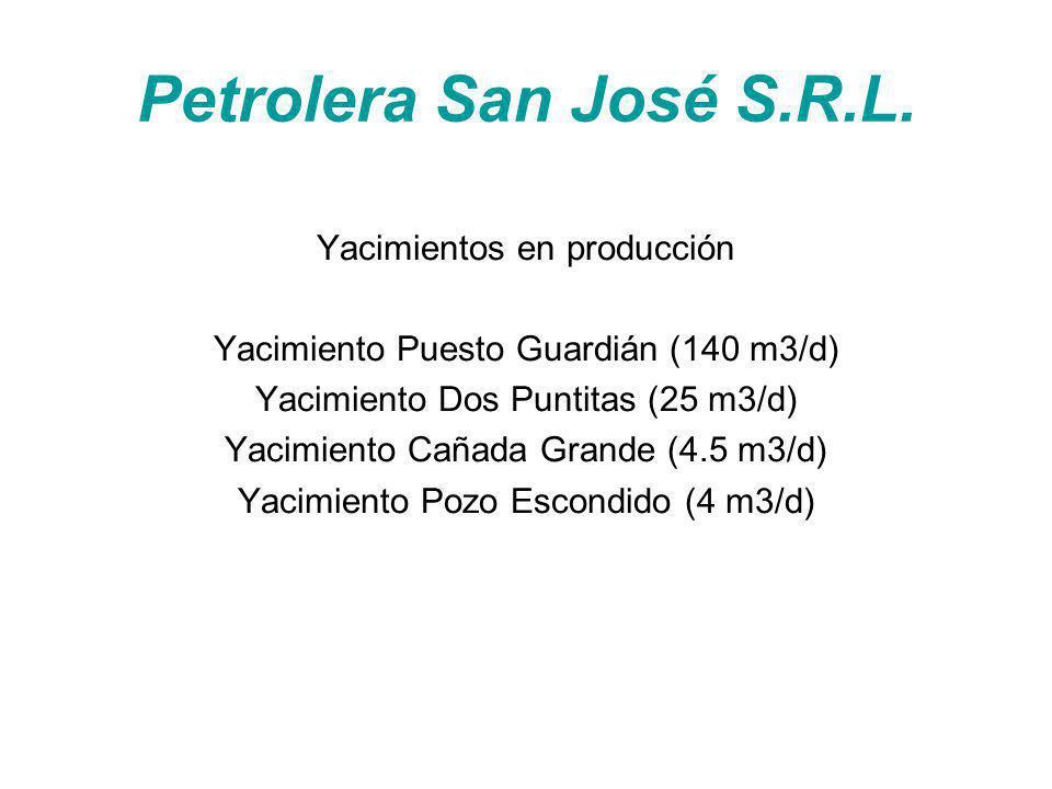 Petrolera San José S.R.L. Yacimientos en producción Yacimiento Puesto Guardián (140 m3/d) Yacimiento Dos Puntitas (25 m3/d) Yacimiento Cañada Grande (