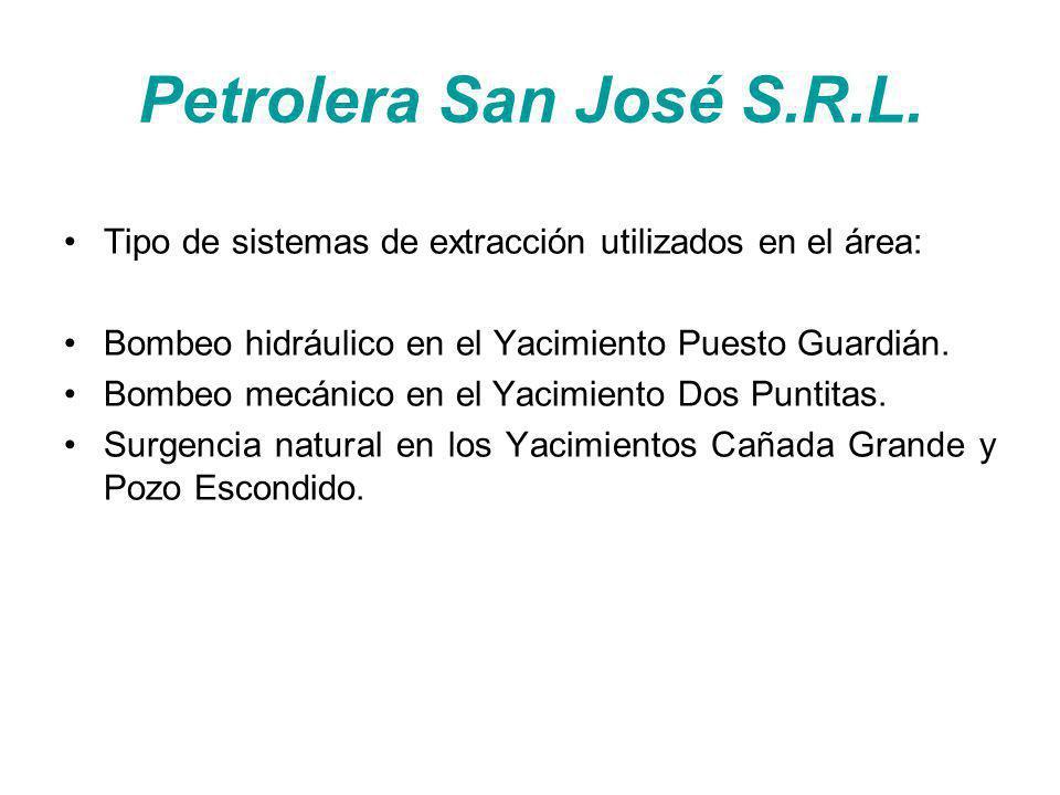 Petrolera San José S.R.L. Tipo de sistemas de extracción utilizados en el área: Bombeo hidráulico en el Yacimiento Puesto Guardián. Bombeo mecánico en