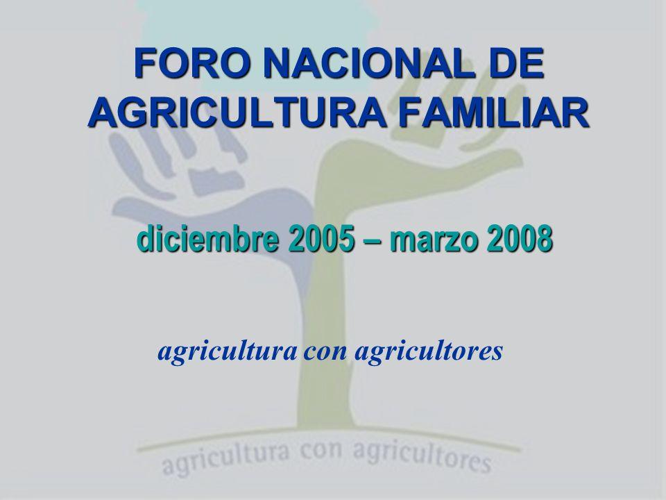 Qué es el Foro Nacional de Agricultura Familiar La confluencia, al cabo de 2 años, de más de 900 organizaciones que asocian a 180 mil familias de productores de todo el país.