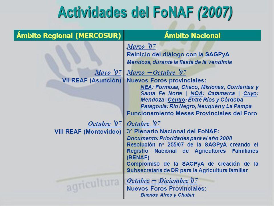 Los principales Temas del FoNAF Caracterización de la Agricultura familiar Tierra y Reforma Agraria Políticas Diferenciales para la AF Fortalecimiento de las Organizaciones (Del Diagnóstico hecho en las Regionales y en el 1° Plenario de MENDOZA)