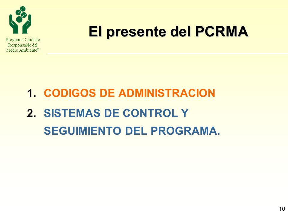 Programa Cuidado Responsable del Medio Ambiente ® 10 El presente del PCRMA 1.CODIGOS DE ADMINISTRACION 2.SISTEMAS DE CONTROL Y SEGUIMIENTO DEL PROGRAM