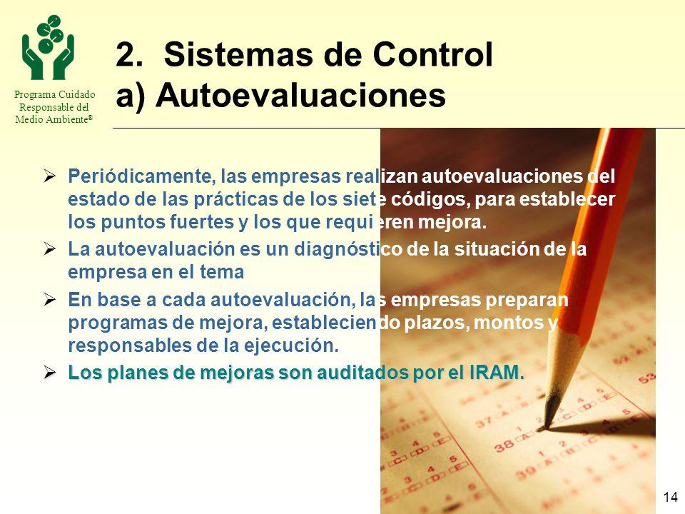 Programa Cuidado Responsable del Medio Ambiente ® 14 2. Sistemas de Control a) Autoevaluaciones Periódicamente, las empresas realizan autoevaluaciones
