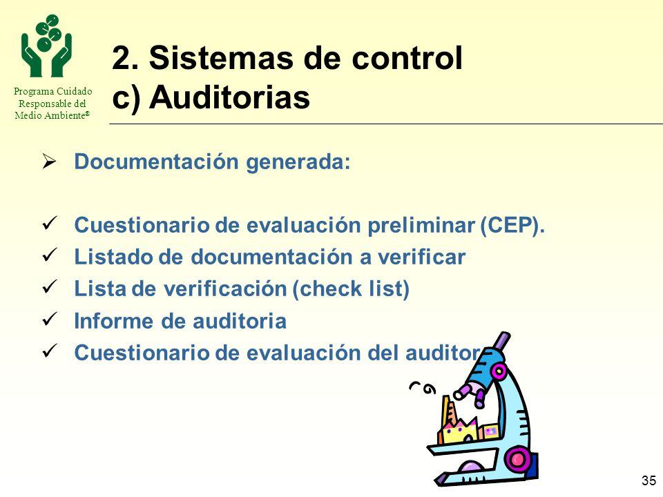 Programa Cuidado Responsable del Medio Ambiente ® 35 2. Sistemas de control c) Auditorias Documentación generada: Cuestionario de evaluación prelimina