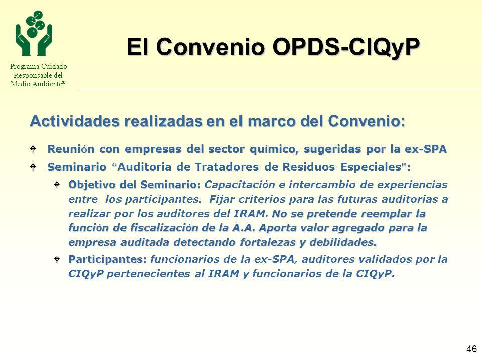 Programa Cuidado Responsable del Medio Ambiente ® 46 El Convenio OPDS-CIQyP Reuni ó n con empresas del sector qu í mico, sugeridas por la ex-SPA Reuni