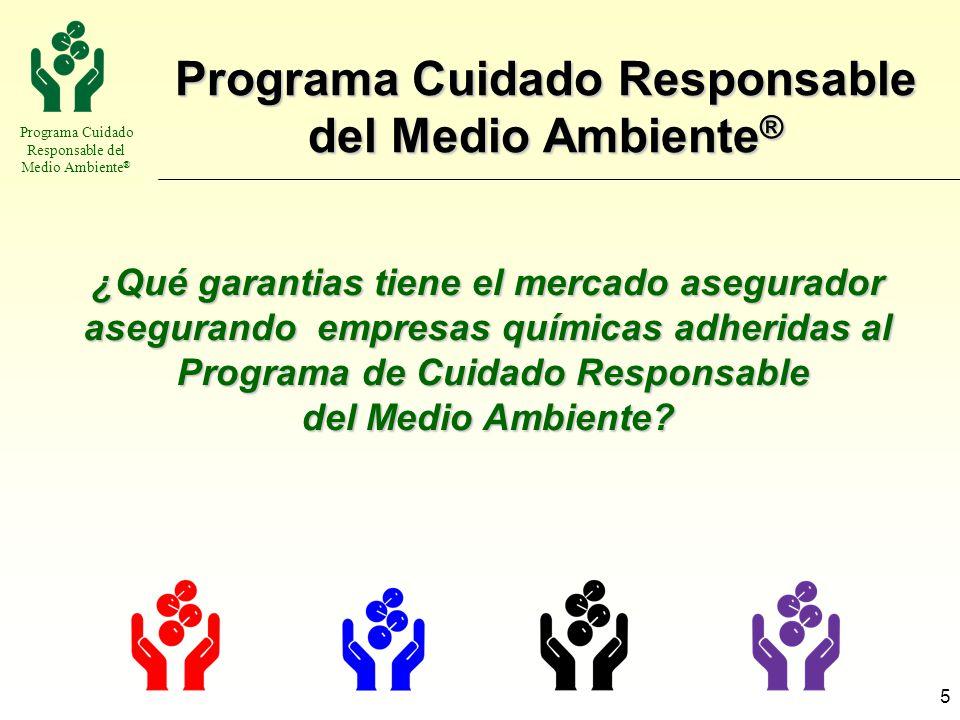 Programa Cuidado Responsable del Medio Ambiente ® 5 ¿Qué garantias tiene el mercado asegurador asegurando empresas químicas adheridas al Programa de C