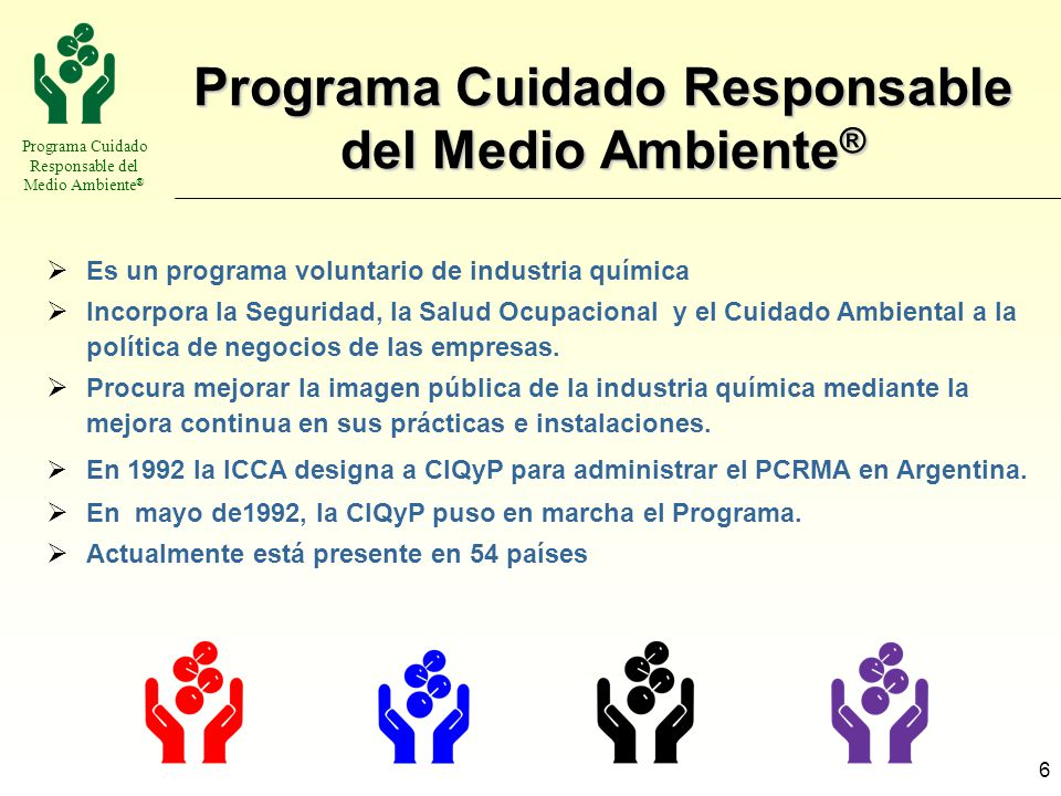 Programa Cuidado Responsable del Medio Ambiente ® 6 Es un programa voluntario de industria química Incorpora la Seguridad, la Salud Ocupacional y el C