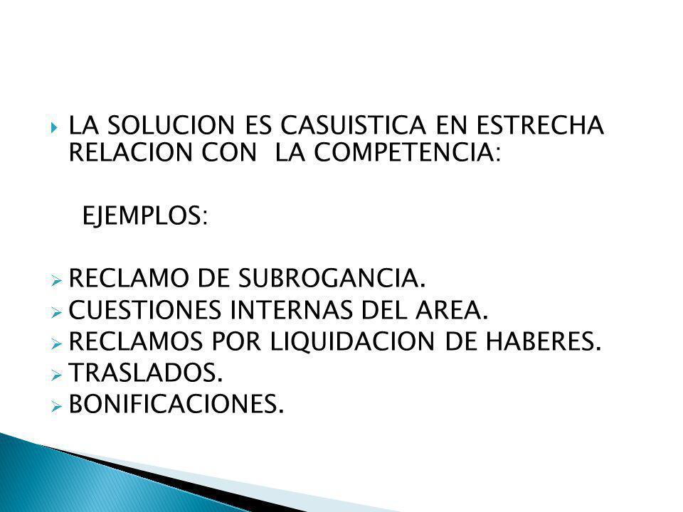 LA SOLUCION ES CASUISTICA EN ESTRECHA RELACION CON LA COMPETENCIA: EJEMPLOS: RECLAMO DE SUBROGANCIA. CUESTIONES INTERNAS DEL AREA. RECLAMOS POR LIQUID