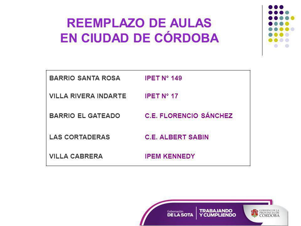 REEMPLAZO DE AULAS EN CIUDAD DE CÓRDOBA BARRIO SANTA ROSAIPET N° 149 VILLA RIVERA INDARTEIPET N° 17 BARRIO EL GATEADOC.E.