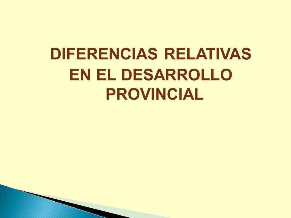 DIFERENCIAS RELATIVAS EN EL DESARROLLO PROVINCIAL