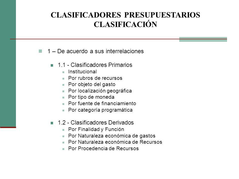 1 – De acuerdo a sus interrelaciones 1.1 - Clasificadores Primarios Institucional Por rubros de recursos Por objeto del gasto Por localización geográf