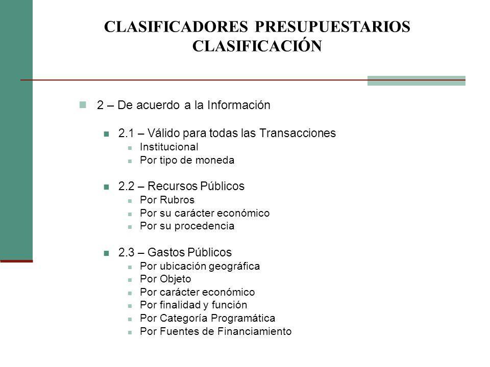 2 – De acuerdo a la Información 2.1 – Válido para todas las Transacciones Institucional Por tipo de moneda 2.2 – Recursos Públicos Por Rubros Por su c
