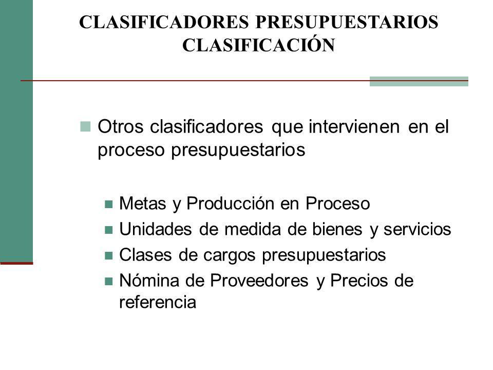 Otros clasificadores que intervienen en el proceso presupuestarios Metas y Producción en Proceso Unidades de medida de bienes y servicios Clases de ca