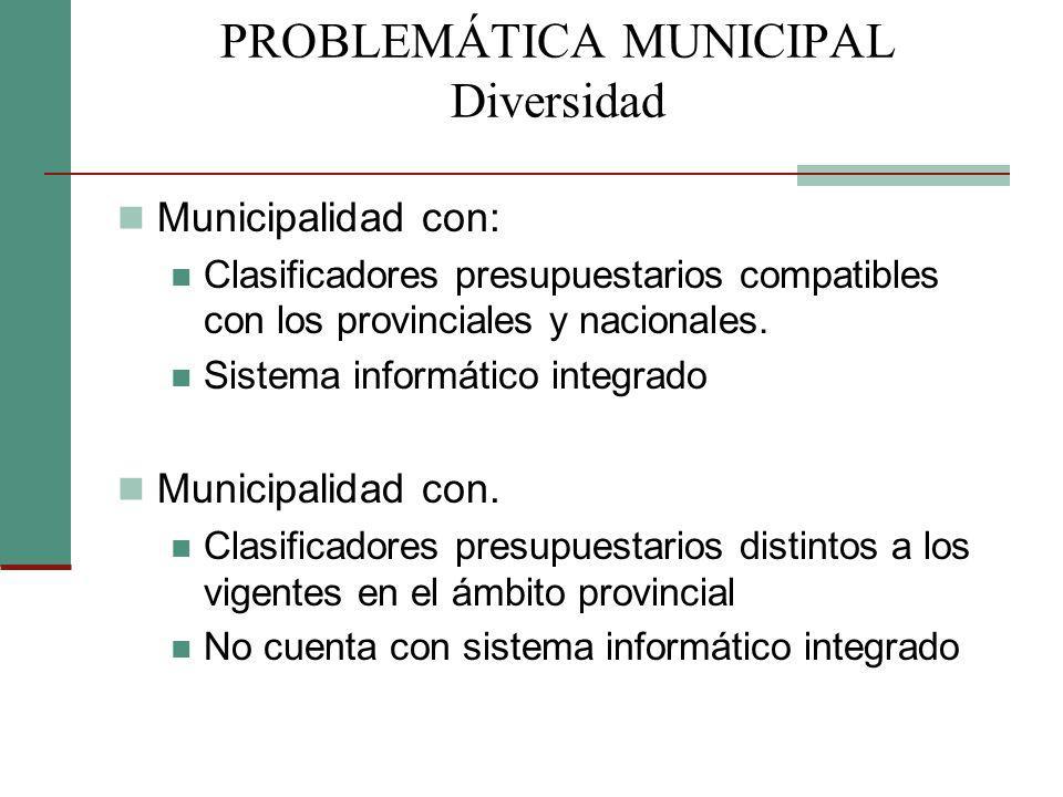 Municipalidad con: Clasificadores presupuestarios compatibles con los provinciales y nacionales. Sistema informático integrado Municipalidad con. Clas
