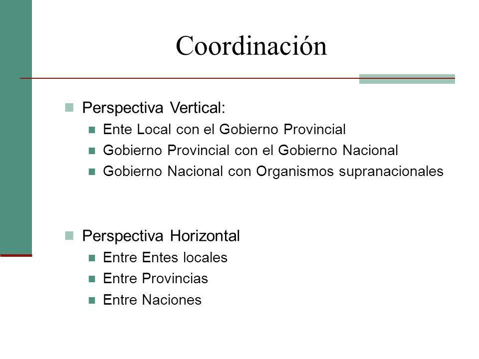 Coordinación Perspectiva Vertical: Ente Local con el Gobierno Provincial Gobierno Provincial con el Gobierno Nacional Gobierno Nacional con Organismos