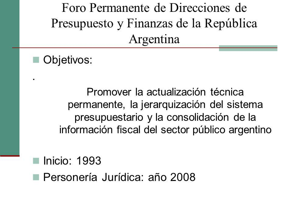 Foro Permanente de Direcciones de Presupuesto y Finanzas de la República Argentina Objetivos:. Promover la actualización técnica permanente, la jerarq