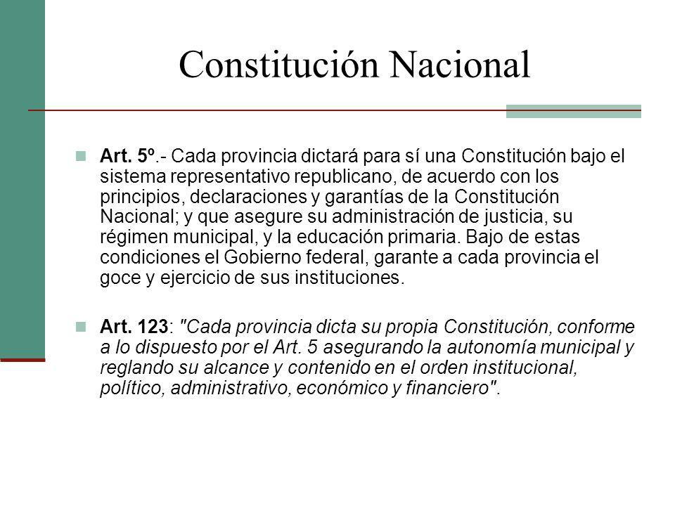 Constitución Nacional Art. 5º.- Cada provincia dictará para sí una Constitución bajo el sistema representativo republicano, de acuerdo con los princip