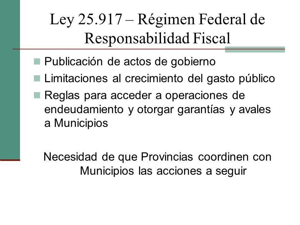 Ley 25.917 – Régimen Federal de Responsabilidad Fiscal Publicación de actos de gobierno Limitaciones al crecimiento del gasto público Reglas para acce