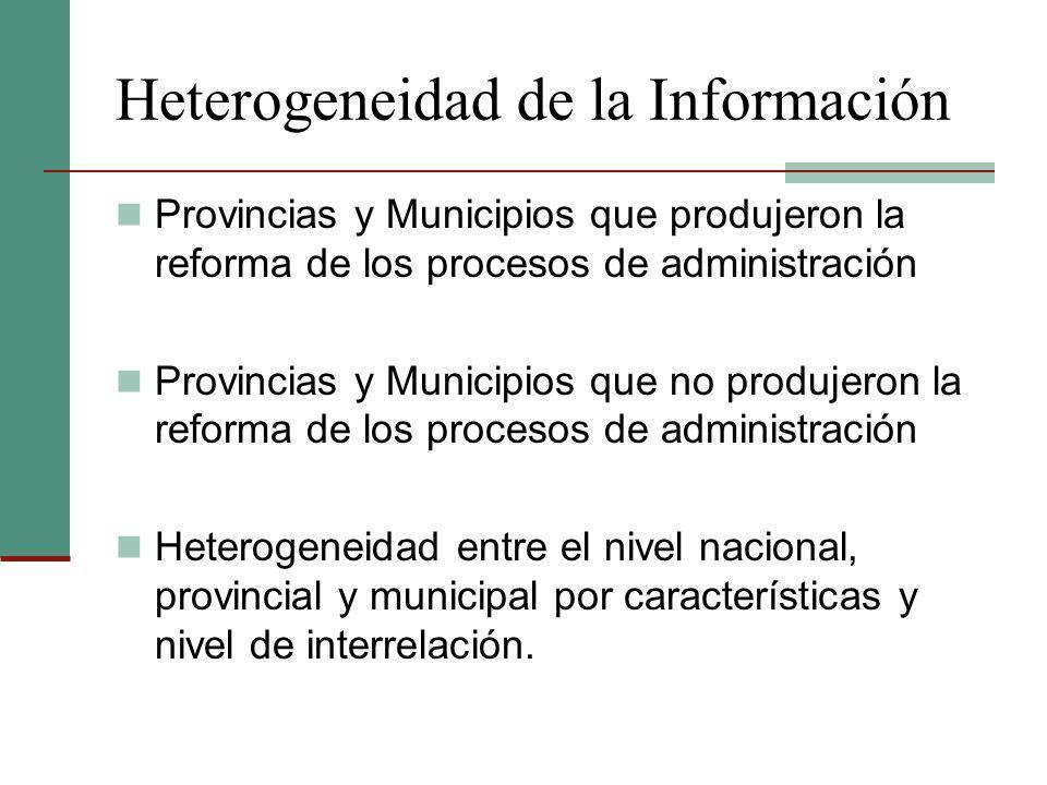 Heterogeneidad de la Información Provincias y Municipios que produjeron la reforma de los procesos de administración Provincias y Municipios que no pr
