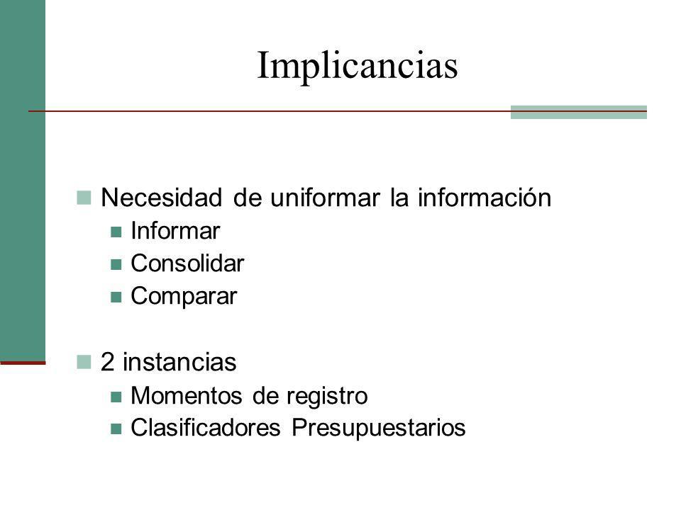 Implicancias Necesidad de uniformar la información Informar Consolidar Comparar 2 instancias Momentos de registro Clasificadores Presupuestarios