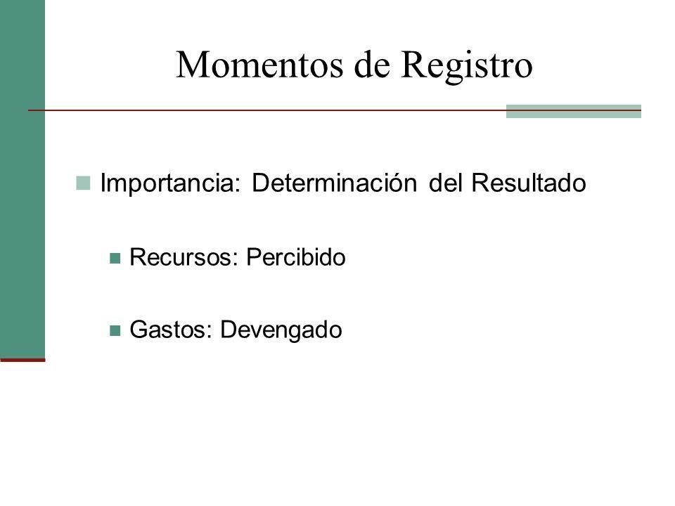 Momentos de Registro Importancia: Determinación del Resultado Recursos: Percibido Gastos: Devengado