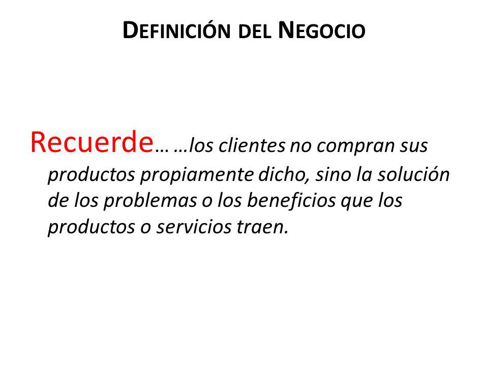 D EFINICIÓN DEL N EGOCIO Recuerde … …los clientes no compran sus productos propiamente dicho, sino la solución de los problemas o los beneficios que l