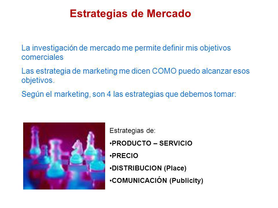La investigación de mercado me permite definir mis objetivos comerciales Las estrategia de marketing me dicen COMO puedo alcanzar esos objetivos. Segú