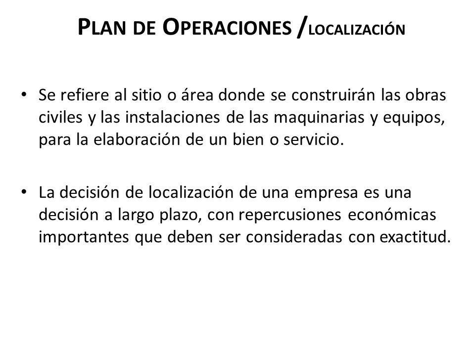 P LAN DE O PERACIONES / LOCALIZACIÓN Se refiere al sitio o área donde se construirán las obras civiles y las instalaciones de las maquinarias y equipo