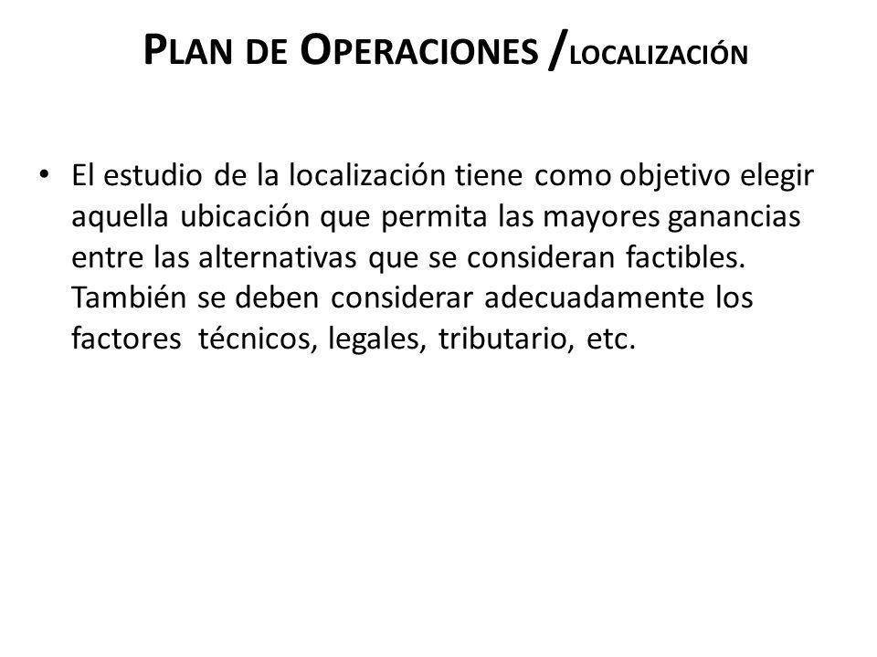 P LAN DE O PERACIONES / LOCALIZACIÓN El estudio de la localización tiene como objetivo elegir aquella ubicación que permita las mayores ganancias entr