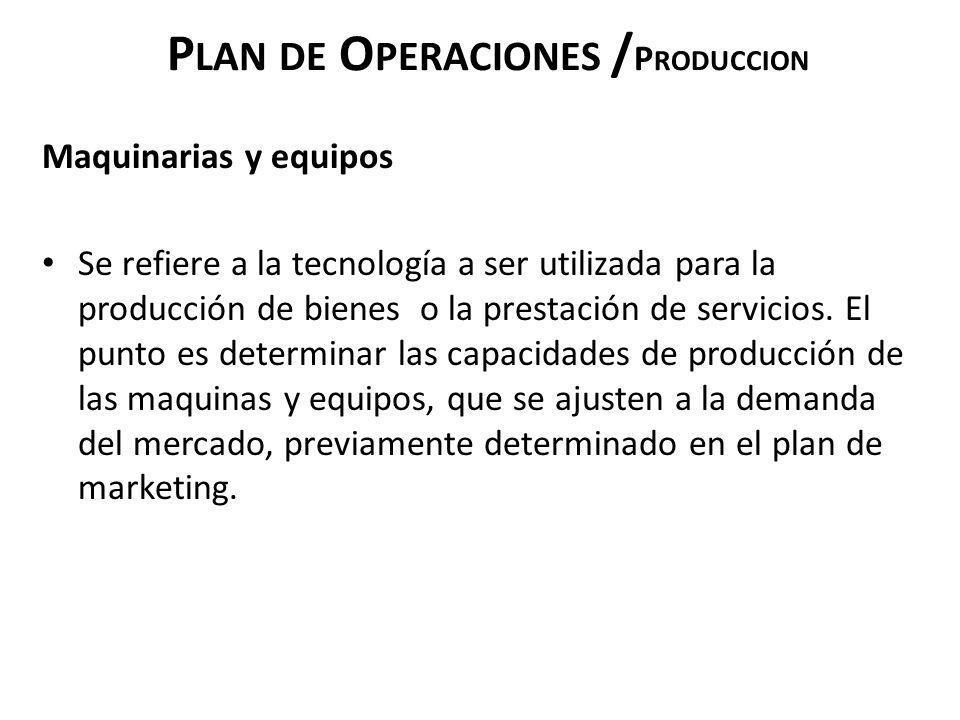 P LAN DE O PERACIONES / P RODUCCION Maquinarias y equipos Se refiere a la tecnología a ser utilizada para la producción de bienes o la prestación de s