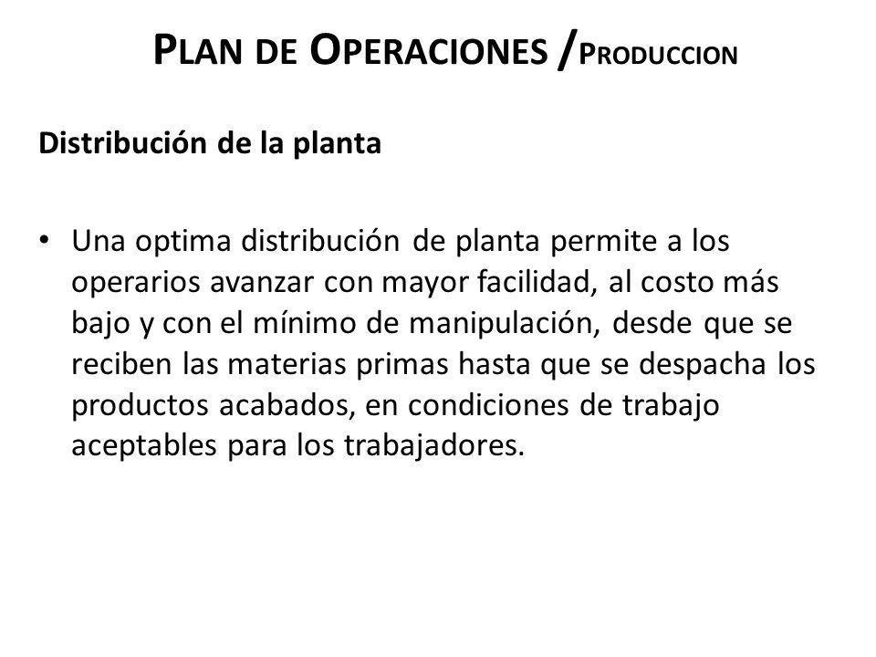P LAN DE O PERACIONES / P RODUCCION Distribución de la planta Una optima distribución de planta permite a los operarios avanzar con mayor facilidad, a