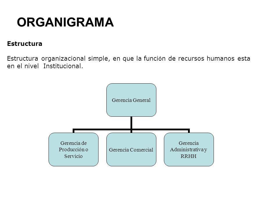 ORGANIGRAMA Gerencia General Gerencia de Producción o Servicio Gerencia Comercial Gerencia Administrativa y RRHH Estructura Estructura organizacional