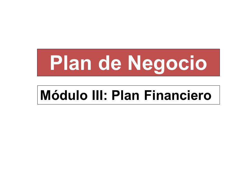 Módulo III: Plan Financiero Plan de Negocio