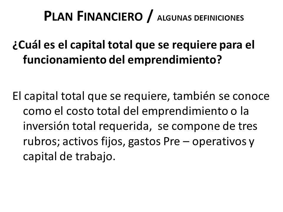P LAN F INANCIERO / ALGUNAS DEFINICIONES ¿Cuál es el capital total que se requiere para el funcionamiento del emprendimiento? El capital total que se